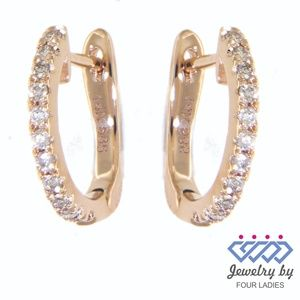 Solid 14K Rose Gold Diamond Huggies Fine Earrings